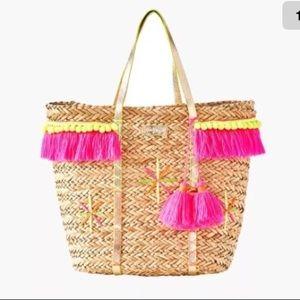 NEW LILLY PULITZER Baja Tote Bag Straw Pom Pom